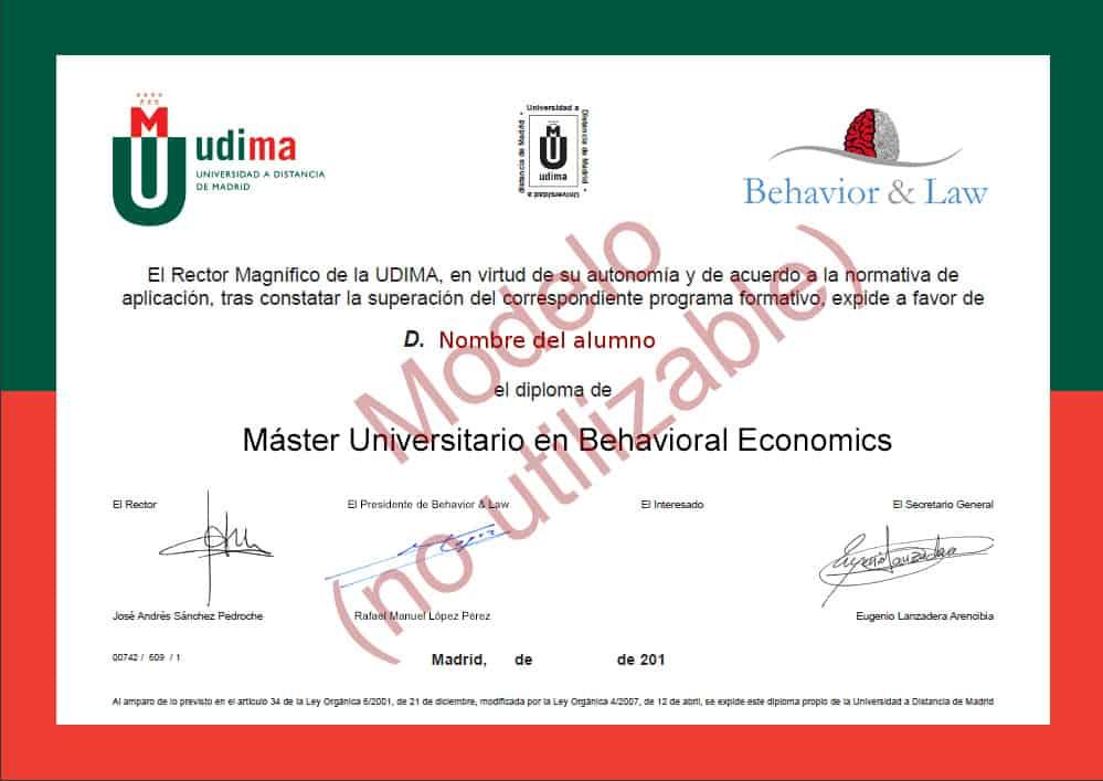 MASTER EN ECONOMIA CONDUCTUAL Behavioral Economics economía conductual online